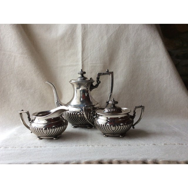 Copper Vintage English Silverplate Georgian Style Coffee Set - Set of 3 For Sale - Image 7 of 8