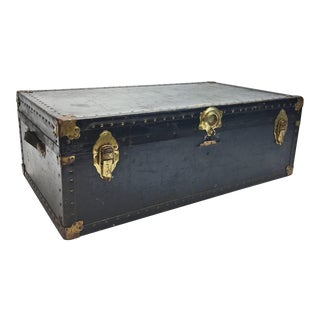 Vintage Black Vulcanized Steamer Trunk With Tray