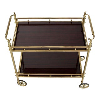 Solid Brass Gallery Lacquered Mahogany Two Tier Serving Cart Bar Table For Sale