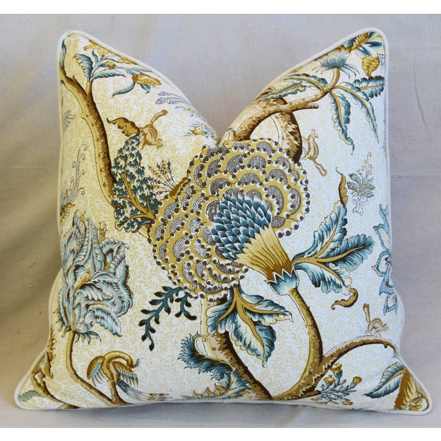 """French Jacobean Floral Cotton & Linen Feather/Down Pillows 24"""" Square - Pair For Sale In Los Angeles - Image 6 of 13"""