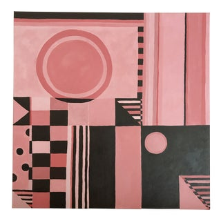 Contemporary Square Pink and Brown Abtract Painting For Sale