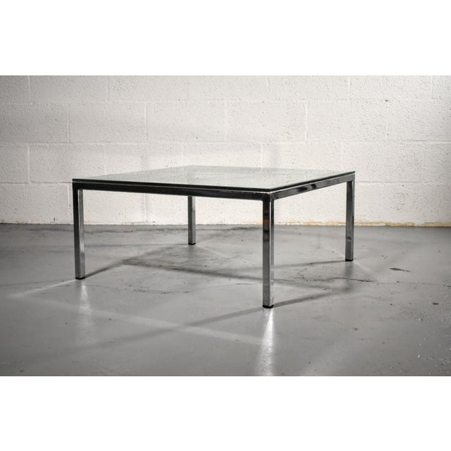 Mid century modern Milo Baughman style chrome and glass coffee table with mirrored backgammon board on the glass. Game...