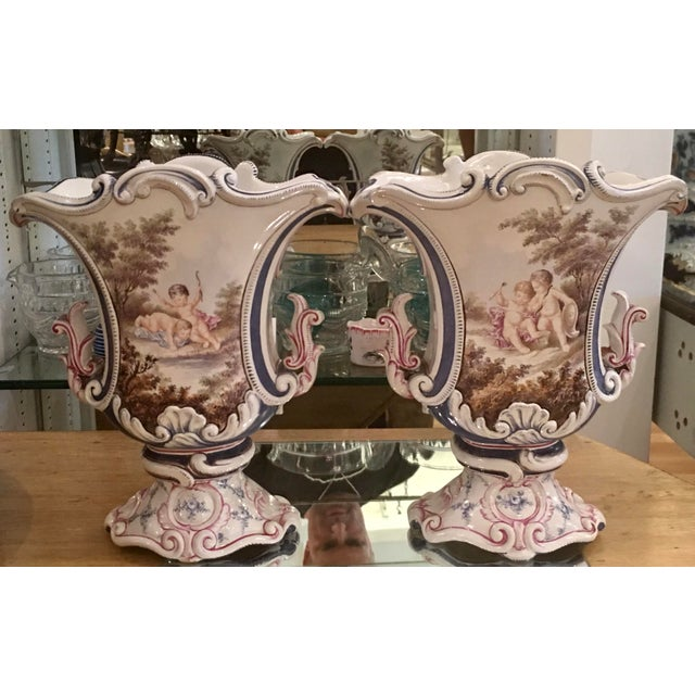 Antique Italian Faience Potter Vases w Angels - a Pair - Image 2 of 5