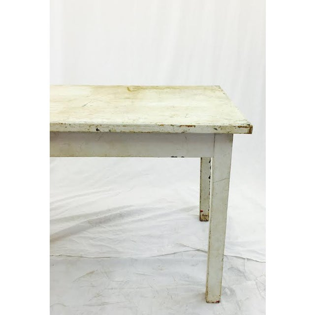 Industrial Vintage & Rustic White Wooden Factory Table For Sale - Image 3 of 6