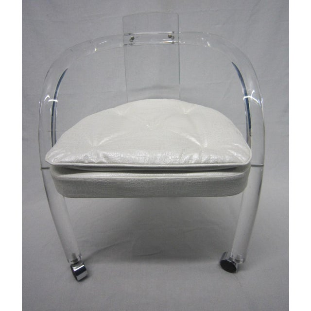 Vintage White Upholstery Lucite Chair - Image 2 of 7