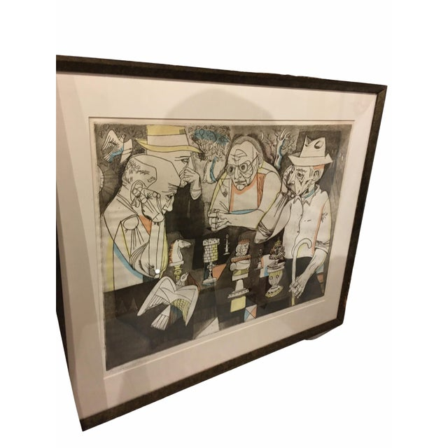 "Vintage professionally framed and matted Serigraph ""Game of Kings"" 82/90 by celebrated American artist and printmaker..."