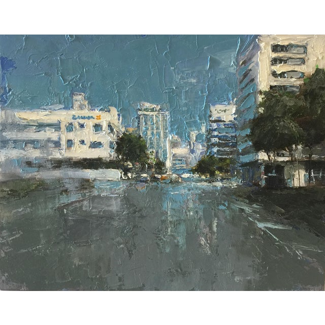 """Beckham Contemporary Architectural Painting """"Miami"""" For Sale"""
