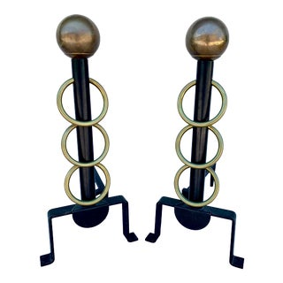 Jacques Adnet Style Brass & Iron Andirons - a Pair For Sale