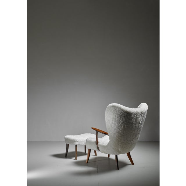 1950s Madsen and Schübel 'Pragh' Lounge Chair With Ottoman, Denmark, 1950s For Sale - Image 5 of 6