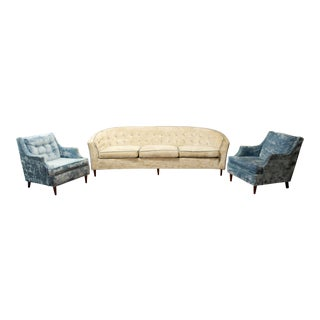 Mid Century Modern Kroehler Suite Crushed Velvet Sofa Chairs Set 1950s - Set of 3 For Sale