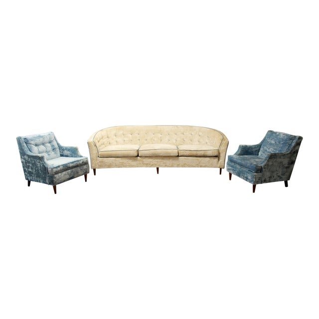 Mid Century Modern Kroehler Suite Crushed Velvet Sofa Chairs Set 1950s - Set of 3 For Sale