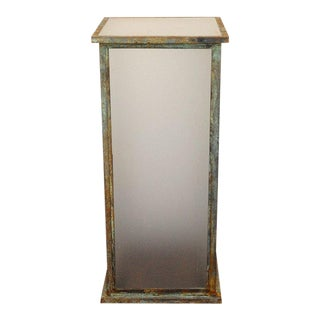 Tall Patinated Steel Industrial Sculpture Pedestal For Sale