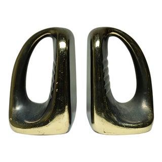Circa 1960s Ben Seibel Style Mid-Century Metal Bookends - a Pair