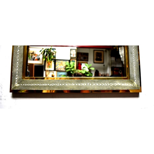 Mid-Century Modern Celadon Shagreen Wall Mirror For Sale - Image 3 of 10