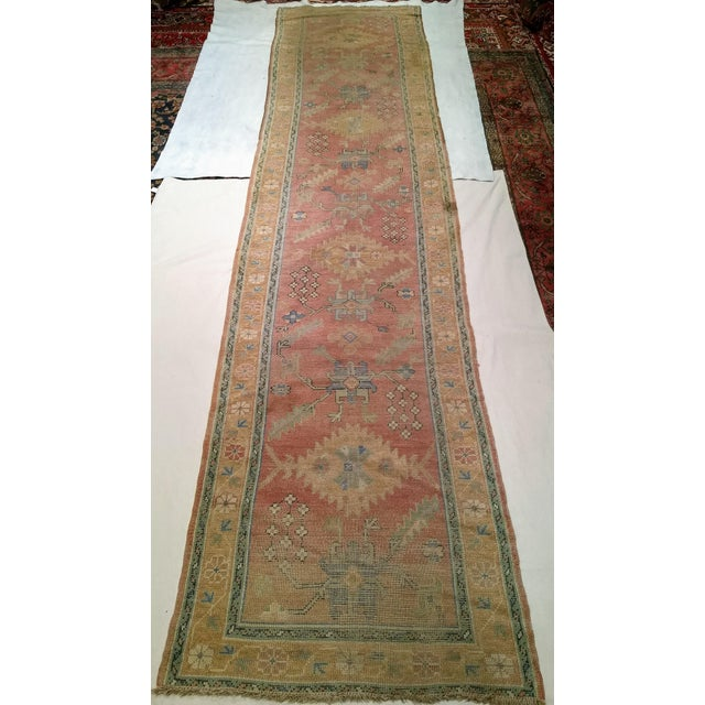 """Late 1800s Turkish Oushak Runner- 3' 5"""" X 14' 5"""" For Sale - Image 13 of 13"""