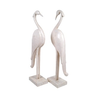 Two Marquis Collection of Beverly Hills Birds White Ivory Stone and Fossil Stone