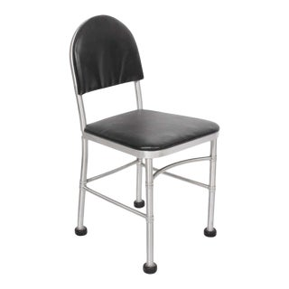 1930s Warren McArthur Aluminum and Black Leather Side Chair For Sale