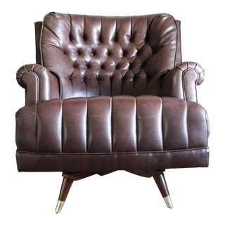 Mid Century Tufted Chesterfield Style Rocker Lounge Chair For Sale
