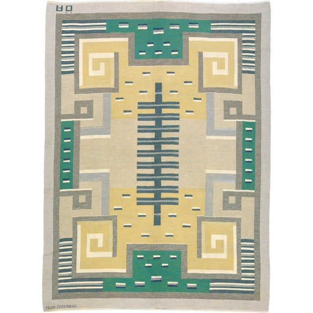 Mid 20th Century Swedish Flat Weave Carpet by Agda Osterberg Rug- 8′11″ × 12′1″ For Sale In New York - Image 6 of 6