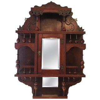 Victorian Mahogany Hanging Wall Cabinet For Sale