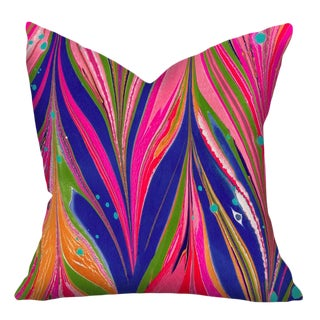 """Abstract Ziggy Pink Cotton and Linen Pillow Cover - 22"""""""