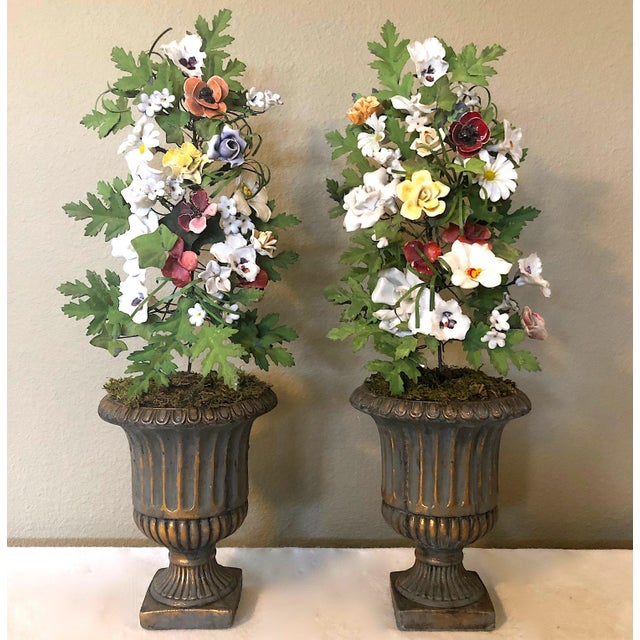 Vintage French Tole & Porcelain Flower Topiaries in Urns - a Pair For Sale - Image 11 of 11