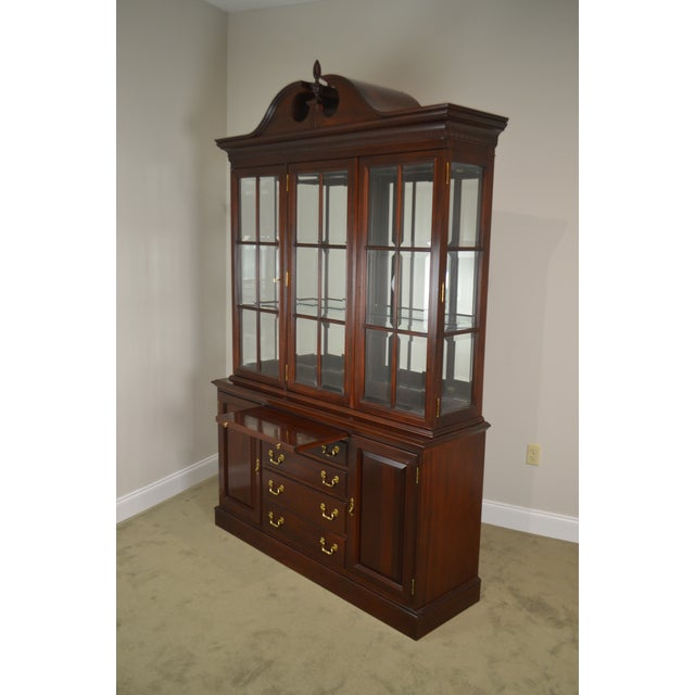 Brown Lexington Chippendale Style Heirloom Solid Mahogany China Cabinet Top Buffet For Sale - Image 8 of 13
