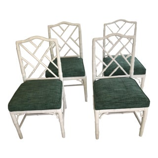 Jonathan Adler Green & White Chippendale Chairs - Set of 4