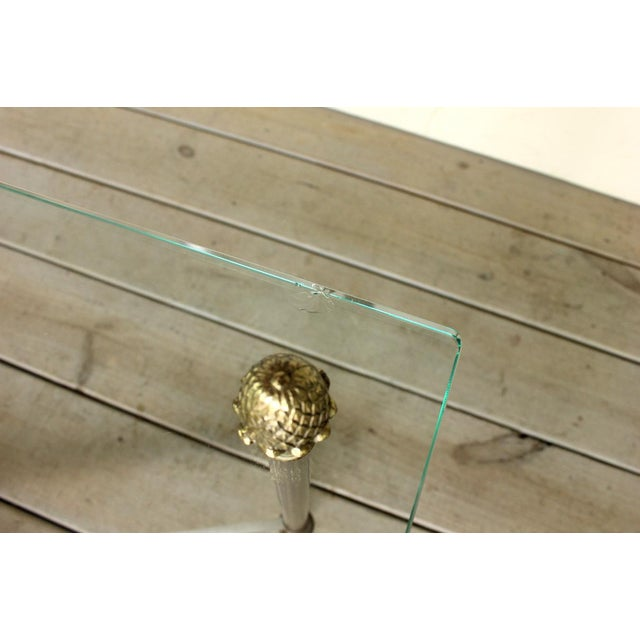 1970s Vintage Brass Brushed Nickel X Base Coffee Table For Sale - Image 5 of 7