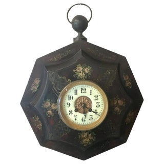 19th C Tole Painted Wall Clock For Sale