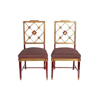 A PAIR OF RUSSIAN EMPIRE NEOCLASSICAL BRASS MOUNTED MAHOGANY SIDE CHAIRS
