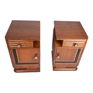 Art Deco Side Table Cabinets - a Pair For Sale