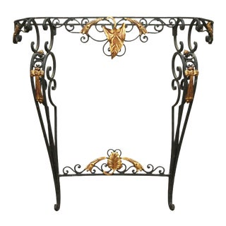 20th Century French Wrought Iron Console Table With Gilded Detail For Sale