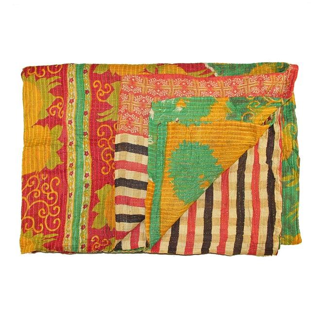 Vintage Red & Yellow Turkish Kantha Quilt - Image 1 of 3