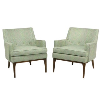 Pair of Curved Back Club Chairs With Button Tufted Upholstery For Sale