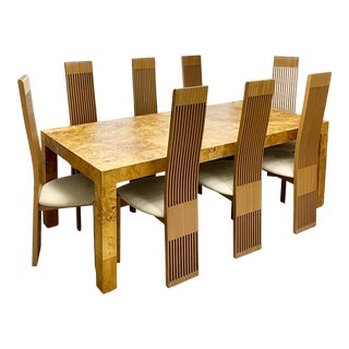 1970s Milo Baughman for Thayer Coggin Parsons Burl Dining Table + 8 Chairs For Sale
