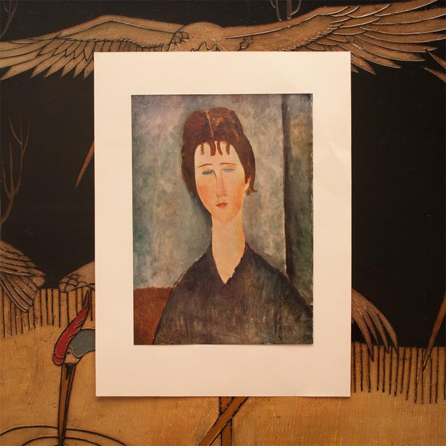 """Modern 1958 Modigliani, """"Young Girl With Brown Hair"""" First English Edition Lithograph For Sale - Image 3 of 11"""