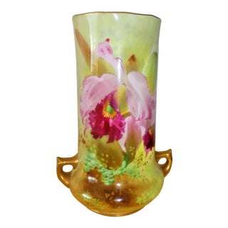 Royal Doulton Floral Painted Orchids Vase, Signed by David Dewsberry For Sale