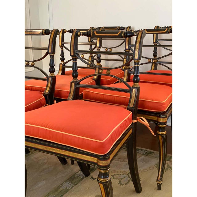 Regency Regency Parcel-Gilt Rosewood-Grained Caned Side Chairs- Set of 6 For Sale - Image 3 of 13