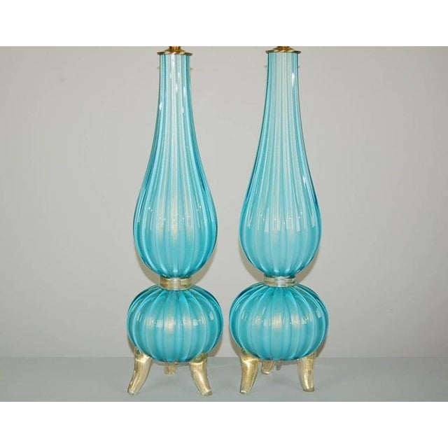Hollywood Regency Murano Glass Three Footed Table Lamps Blue Gold For Sale - Image 3 of 10