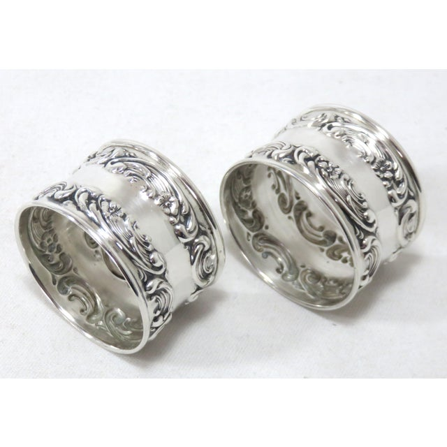 American Vintage Victorian Gorham Sterling Silver Napkin Rings - a Pair For Sale - Image 3 of 12