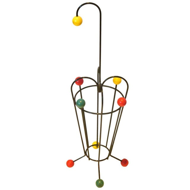 1950s Atomic Age French Mid-Century Iron and Wood Umbrella Stand For Sale - Image 4 of 4