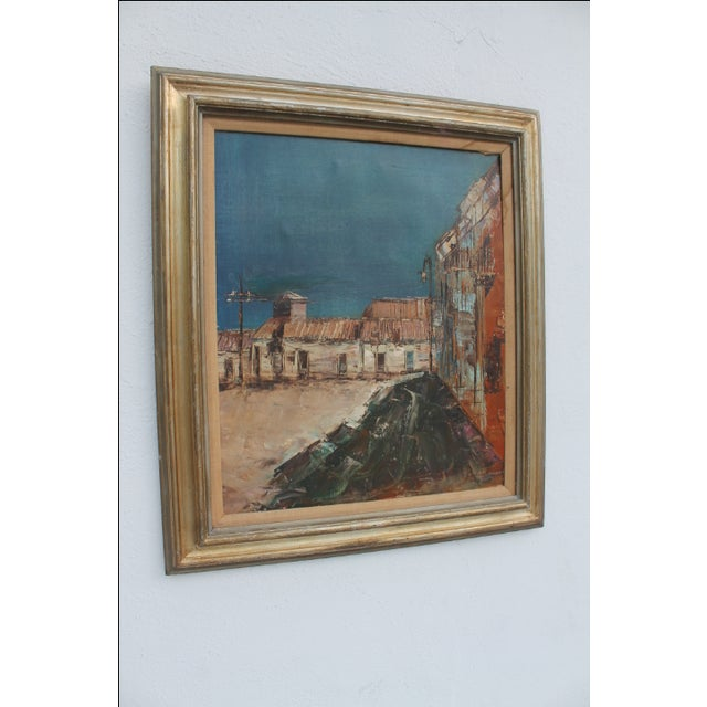 Mid-Century Modern Expressionist Oil on Canvas Cityscape Painting For Sale - Image 3 of 9