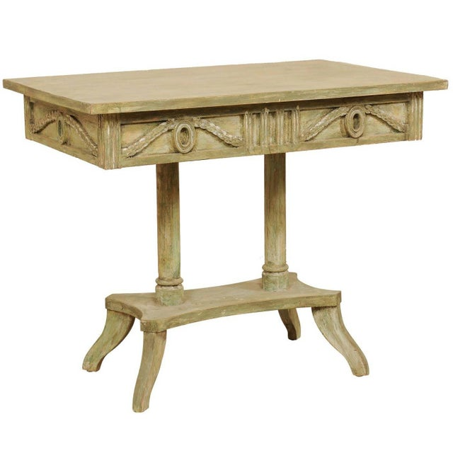 Swedish 19th Century Neoclassical Painted and Carved Wood Lindome Style Table For Sale - Image 10 of 10