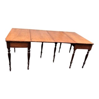 Antique Early American Sheraton Cherry and Tiger Maple 2 Part Dining Table For Sale