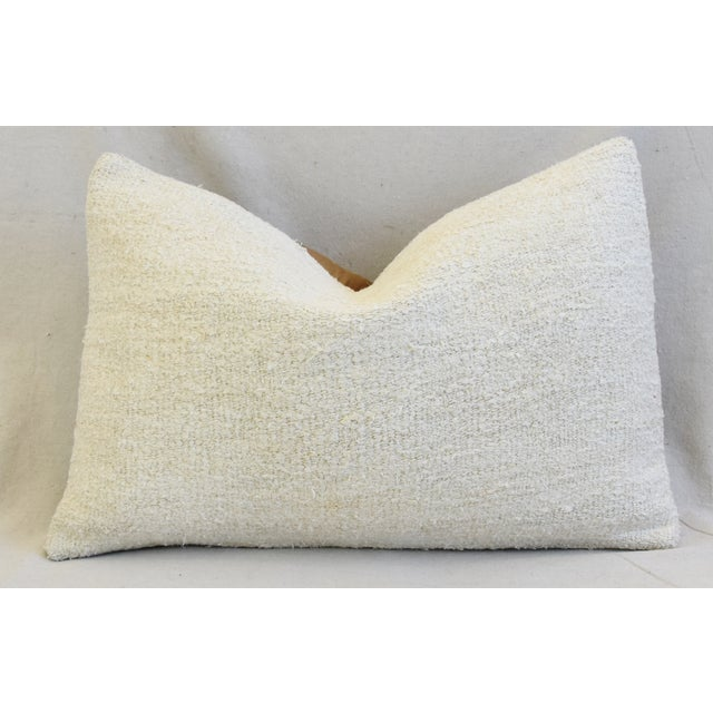 "Neutral Organic Hemp/Cotton Kilim Feather/Down Pillow 24"" X 16"" For Sale In Los Angeles - Image 6 of 6"