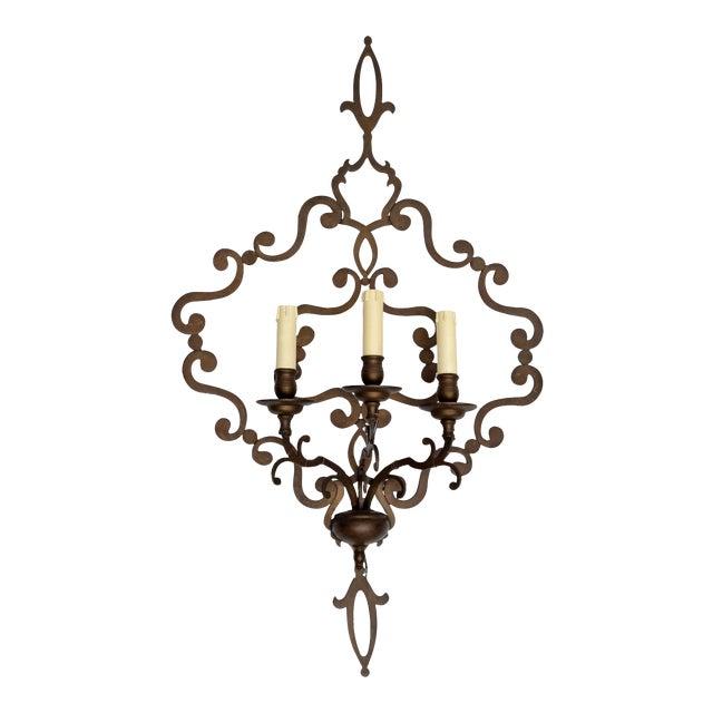 Italian Wrought Iron Applique Wall Sconce Chairish