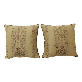 Pair of Arts & Crafts Woven Linen Green and Orange Floral Decorative Pillows For Sale