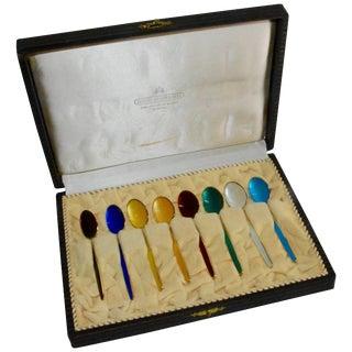 David-Andersen Norwegian Sterling Silver and Enamel Demitasse Spoon Set in Case For Sale