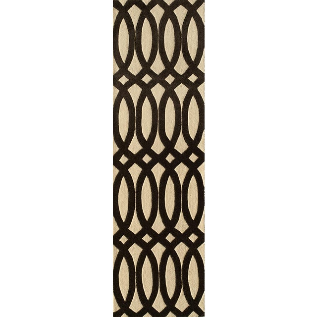 """Textile Contemporary Momeni Delhi Hand Tufted Black Wool Runner - 2'3"""" X 8' For Sale - Image 7 of 7"""